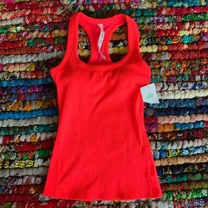NWT Alo Rib Support Racerback Tank Neon Orange